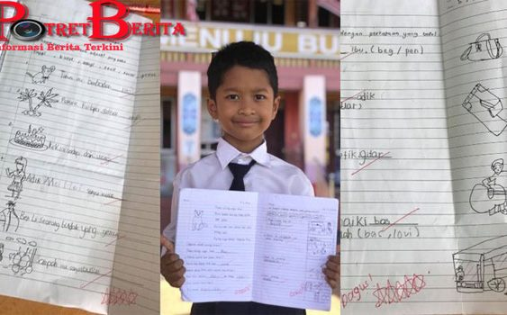 Tak Punya Printer, Siswa SD Ini Gambar & Tulis Materi Sekolahnya Sendiri-an