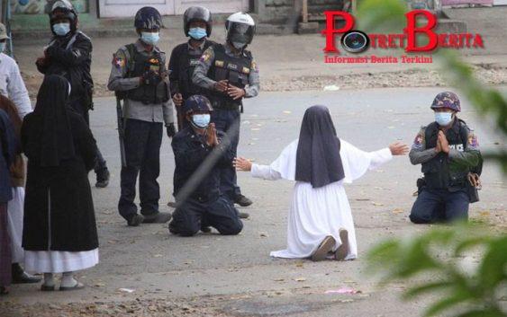 Aksi Suster Ann Roza Lindungi Demonstran Myanmar: Tolong, Tembak Saya Saja